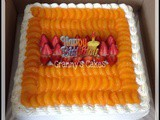 Red Velvet cake with full of Mandarin Orange