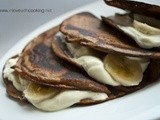 Cream and Banana Chocolate Pancakes