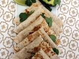 Black Bean Spread, Goat's Cheese, Avocado and Cilantro Quesadillas