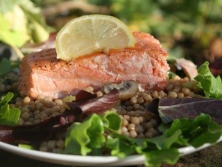 Pan Seared Salmon with Israeli Couscous Salad