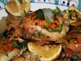 Quick Fix Roast Lemon Chicken Thighs with Garlic, White Wine and Fresh Herbs