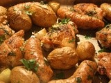 Roast Chicken Thighs with Sausage, Potatoes and Garlic