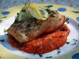 Sea Bass with a Roasted Tomato and Pepper Herb Sauce