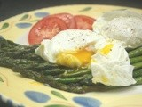 The Perfect Solitary Lunch, Poached Eggs and Roasted Asparagus