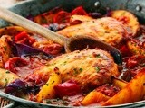 Chicken with Chorizo Sausage & Sweet Potato Wedges