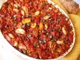 Baked Butter Beans with salami and capers - Gigantes Plaki