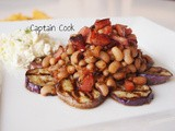 Black Eyed Peas with Sausage and Grilled Eggplant