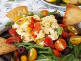 Green Salad with Baked Feta Cheese and Pita Croutons