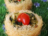 Spinach and Cheese tartlet Nests