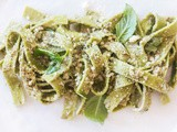 Spinach Linguini with Walnut Pesto