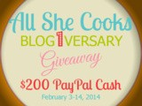 Join Me in Celebrating All She Cooks Blogiversary with a $200 PayPal Cash Giveaway