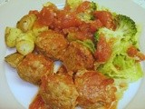 Baked Turkey & Carrot Meatballs with Garlic Roast Potatoes