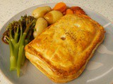 Chicken, mushroom & black garlic puff pastry slices - it's British Pie Week