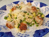 Chicken sausage, pea & courgette risotto - fresh and tasty