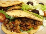 Harissa Lamb in flatbreads with tzatziki