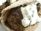 Kibbeh meatballs in pitta bread