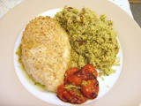 Pesto chicken with roasted tomatoes and Milanese couscous