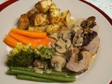 Pork tenderloin stuffed with sherry soaked prunes and chestnuts, in a mushroom cream sauce
