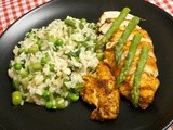 Risotto Primavera with herby glazed chicken