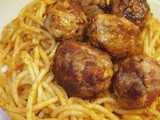 Turkey & chorizo meatballs on Pesto Spaghetti