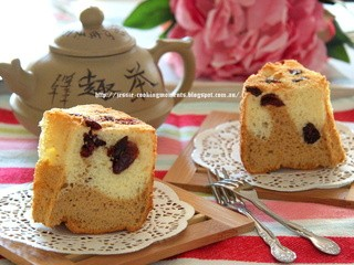 Coffee Vanilla Chiffon Cake with Cranberries 咖啡香草蔓越莓戚风蛋糕