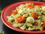 Basil Pesto Pasta with Roasted Cherry Tomatoes & Mozzarella ~ Secret Recipe Club