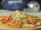 Game Day Flatbread Feast {Shrimp Pesto, Teriyaki Chicken, and Green Chile Cheeseburger Flatbreads}