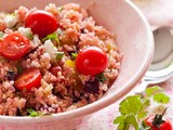 Beetroot quinoa with feta and tomatoes