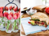 Cheese and veggie sandwich and tulip season