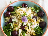 Cherry pasta salad with feta