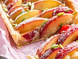 Plum tart with roasted marzipan