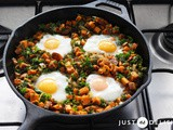 1-Pan Sweet Potato Hash with Poached Eggs
