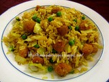 Cabbage Soya Chunks Fried Rice