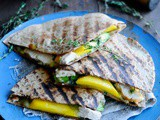 Chicken and cheese quesadilla with mango