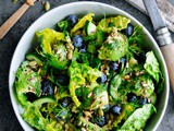 Green Salad with Blueberries, Kamut and Dill Oil