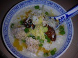 Dried oysters and meat balls porridge