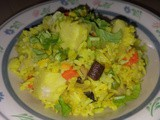 Fragrant tumeric coconut rice with yam