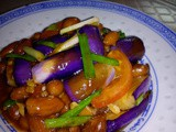 Fried brinjals with peanuts