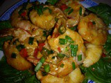 Hot and spicy fu yee prawns