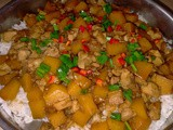 Steamed pumpkin with chicken rice