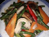 Stir fry oyster mushrooms with long beans