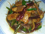 Stir fry pork tenderloin with dried chillies