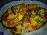 Thai mango salad fried salmon