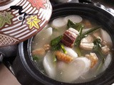 White carrot roasted pork soup