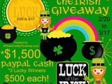 Luck of the irish giveaway 2/20/15 thru 3/17/15