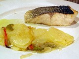 Sea bass with roast potatoes and vegetables