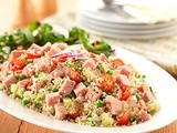 Spam summer salad with pine nuts and couscous