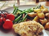 Parmesan and Herb Crusted Cod with Garlic Vine Tomatoes and Roasted New Potatoes