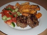 Turkey Burgers with Sweeto Potato Wedges and Salsa