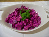 Shamandar: beetroot salad with yogurt tahini dressing